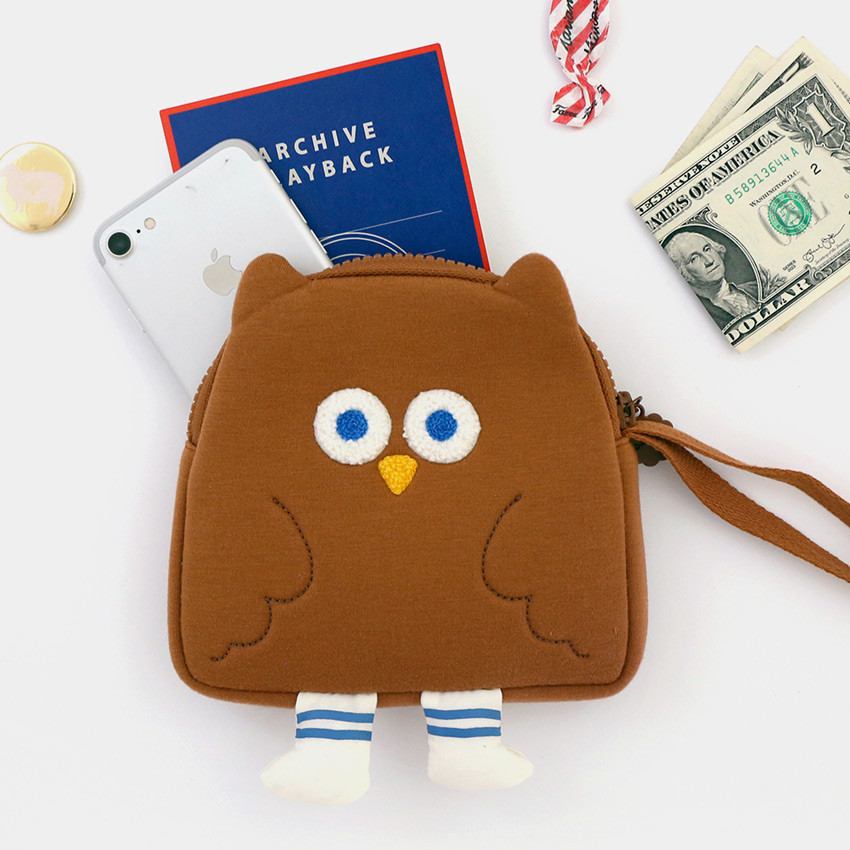ROMANE Brunch Brother Fly owl zipper pouch with a strap