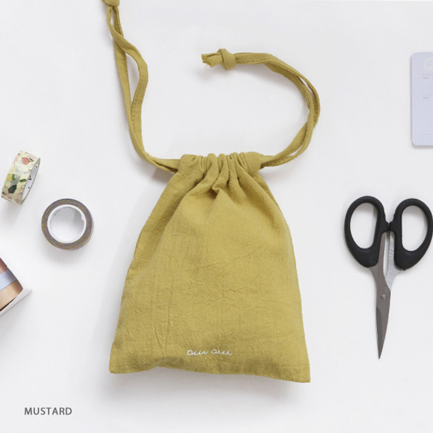 Mustard - GMZ Around'D Oui Oui fabric drawstring pouch