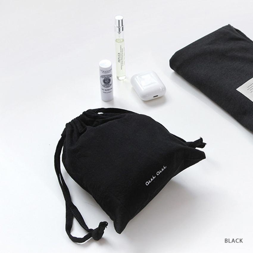 Black - GMZ Around'D Oui Oui fabric drawstring pouch