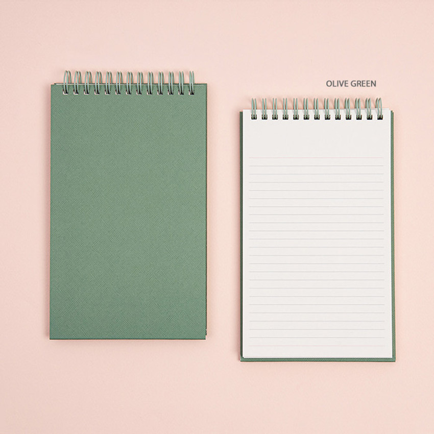 Olive Green - Ardium Color large spiral bound lined notepad