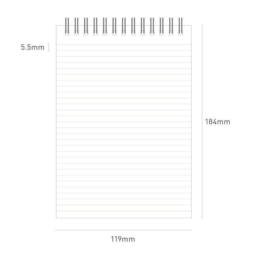 Size - Ardium Color medium spiral bound lined notepad
