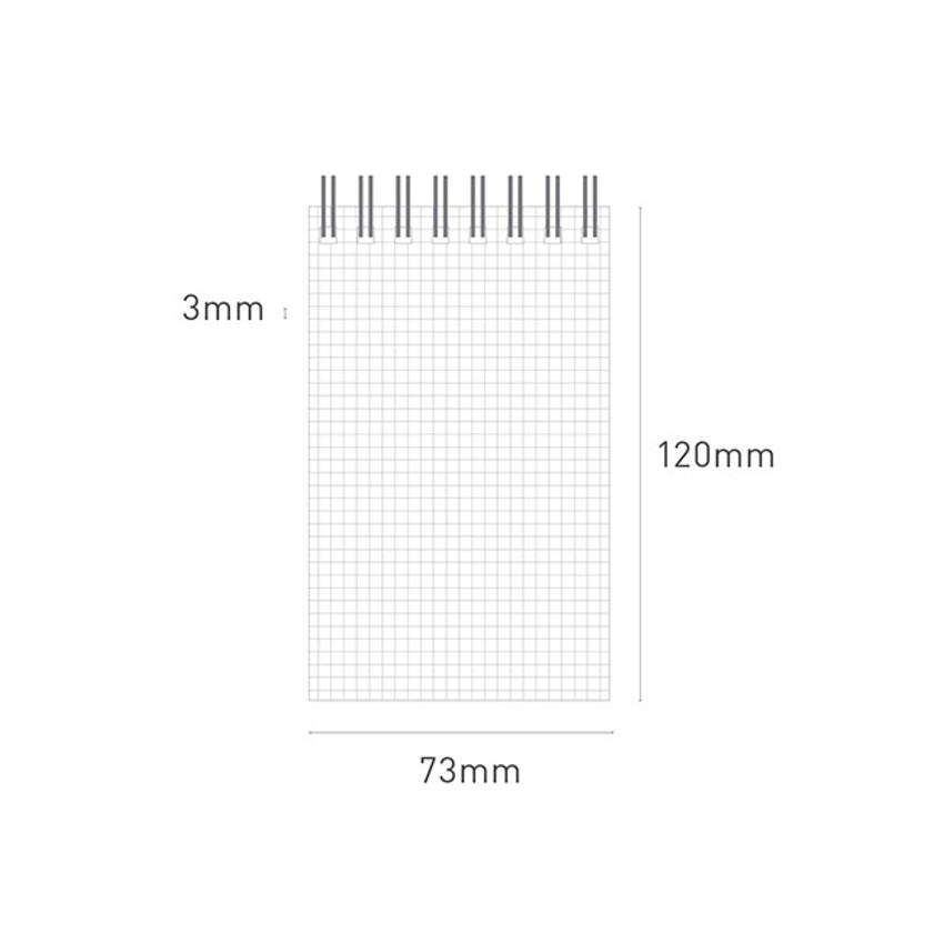 Size - Ardium Color small spiral bound grid notepad