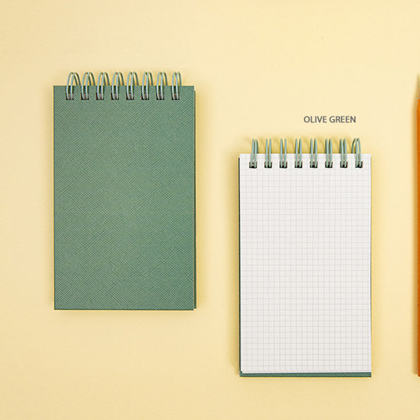 Olive Green - Ardium Color small spiral bound grid notepad