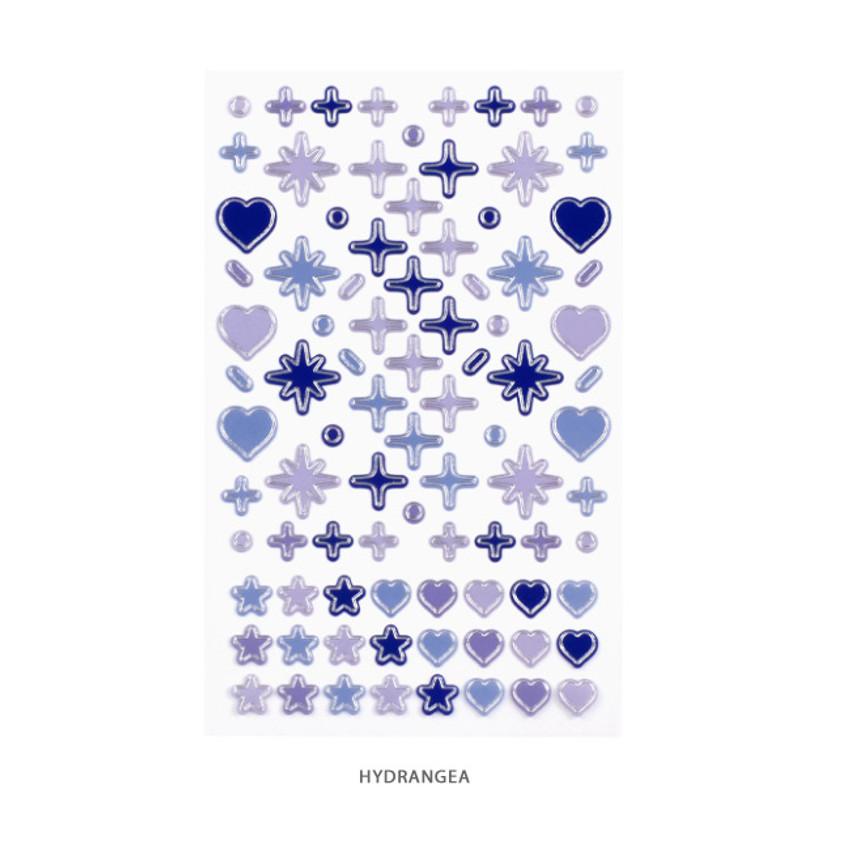 HYDRANGEA - After The Rain Silver line deco sticker