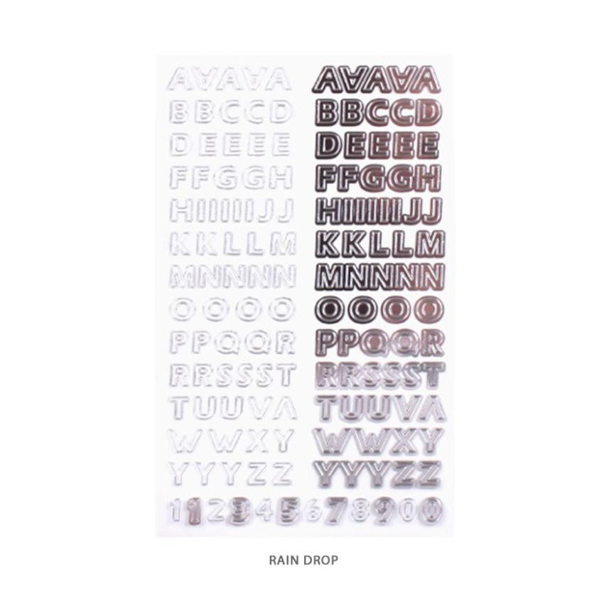 Rain Drop - After The Rain Silver line Alphabet deco sticker