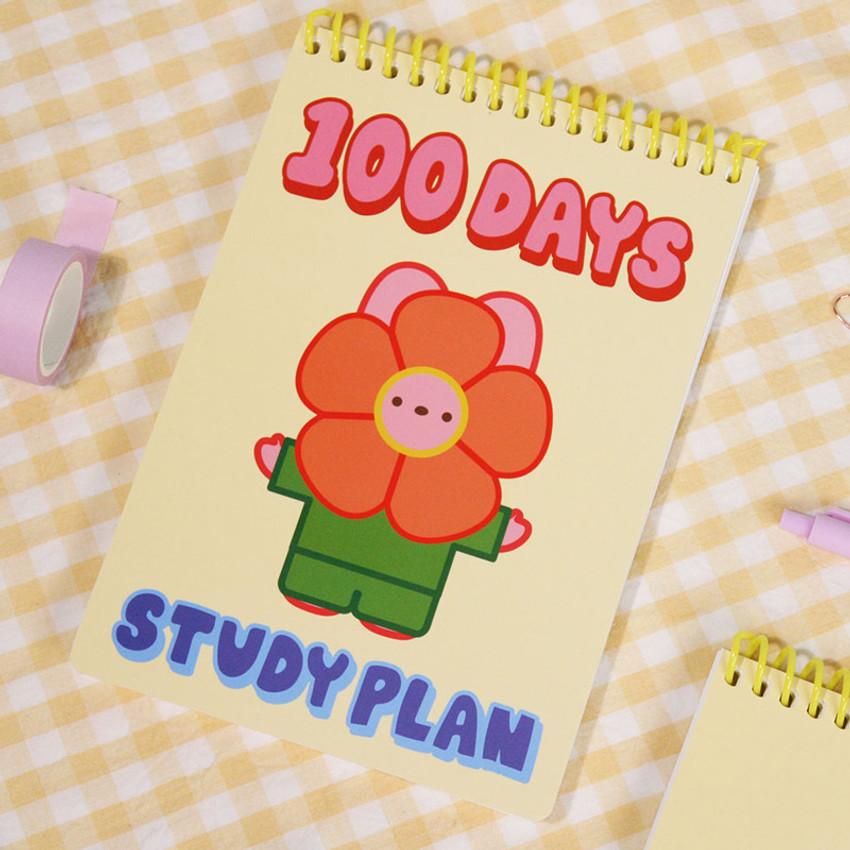 Flower - DESIGN GOMGOM Reeli 100days spiral bound study planner