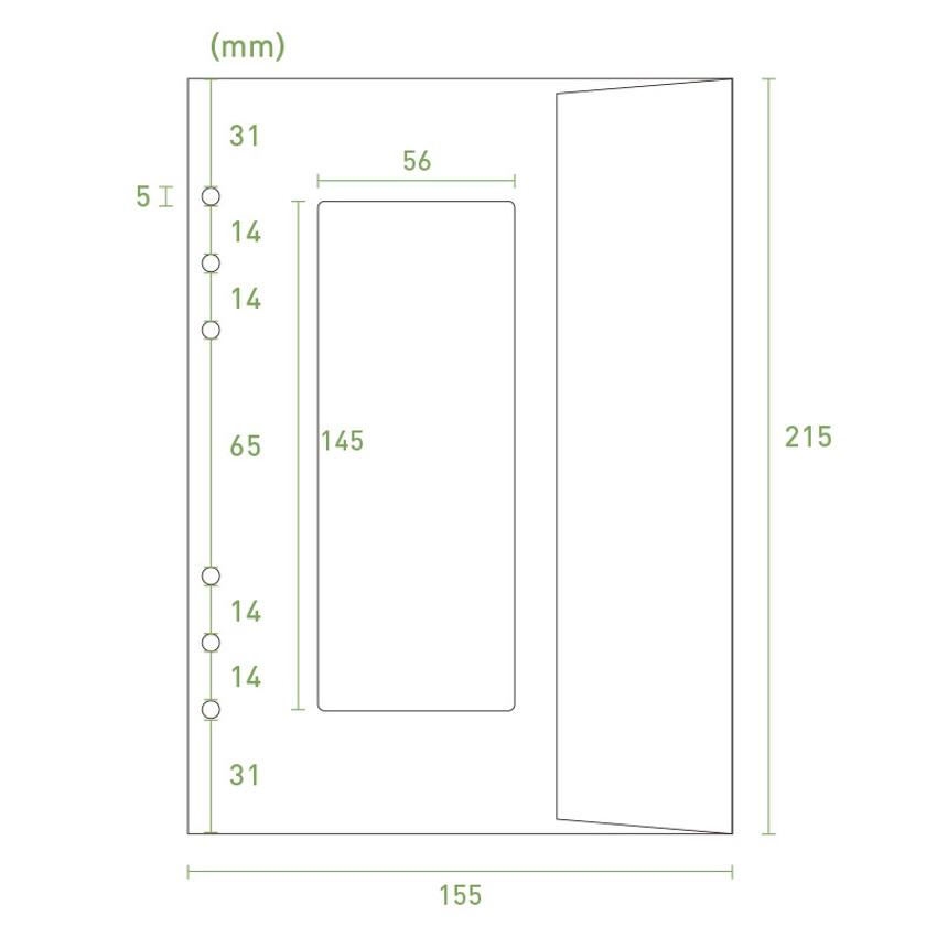 Size - PAPERIAN Window paper envelope 6-ring A5 size refill ver2