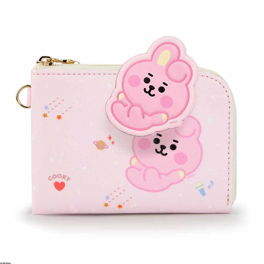 Front - BT21 Baby zipper card pocket wallet with leather sticker