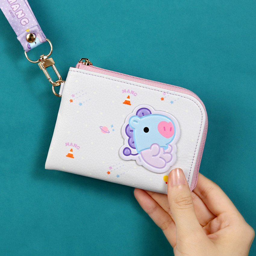 Usage example - BT21 Baby zipper card pocket wallet with leather sticker