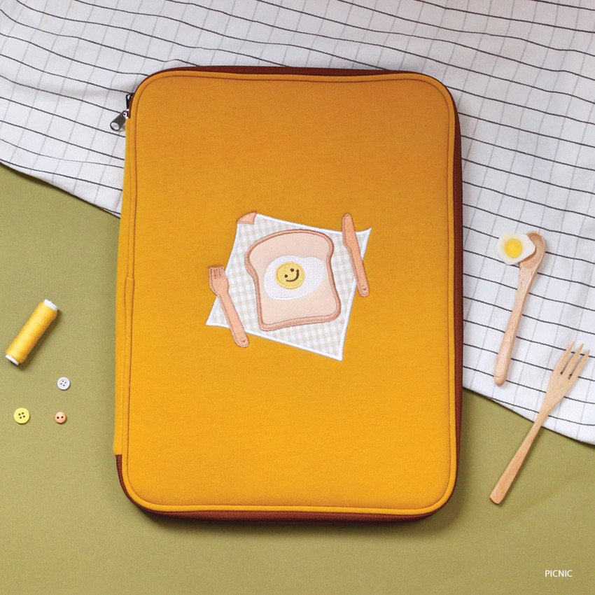 """Picnic - Tailorbird embroidered 13"""" laptop PC zip sleeve pouch ver5"""