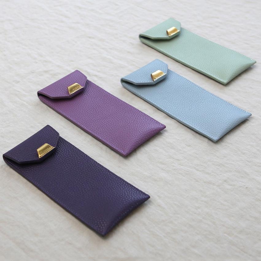 loiloi PU coated cow leather flat pencil case