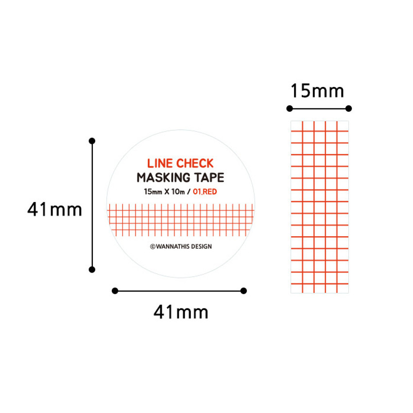 Size - Wanna This Line check 15mm X 10.9yd masking tape