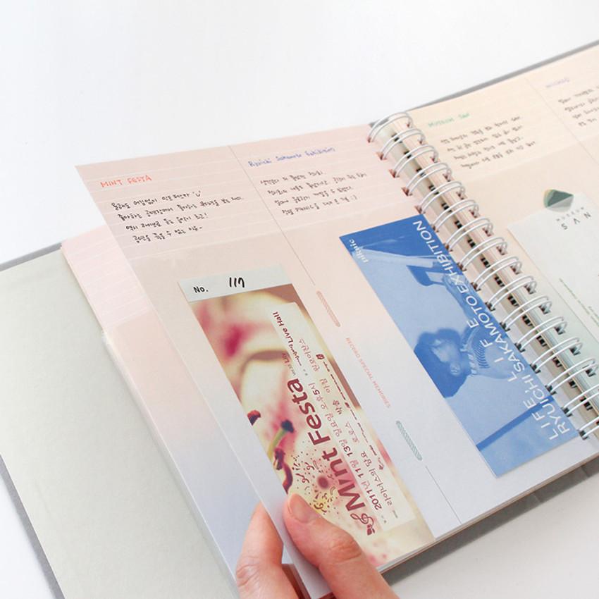 Usage example - Indigo My record slip in pocket ticket book album