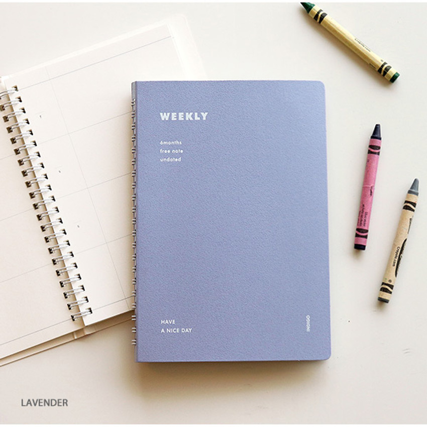 Lavender - Indigo Have a nice day 6 months dateless weekly planner