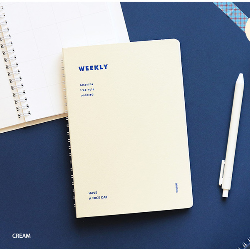 Cream - Indigo Have a nice day 6 months dateless weekly planner