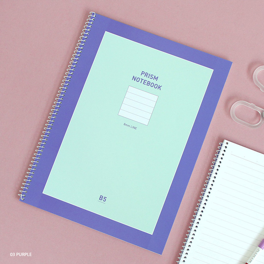 Purple - Indigo Prism 56 spiral bound B5 lined notebook