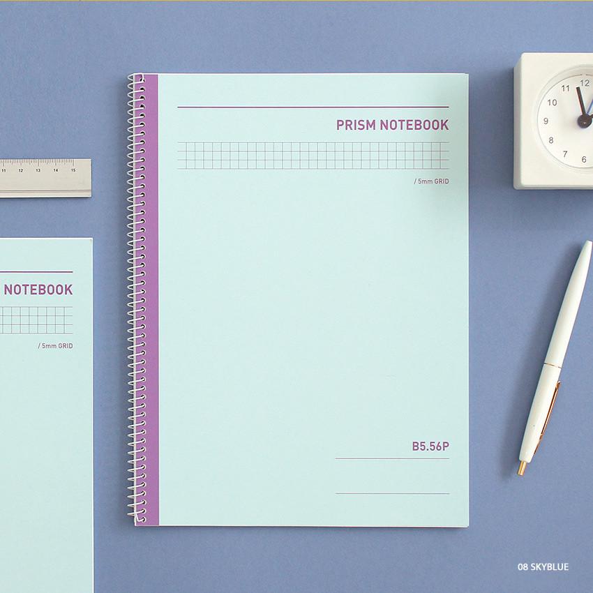 Skyblue - Indigo Prism 56 spiral bound B5 grid notebook