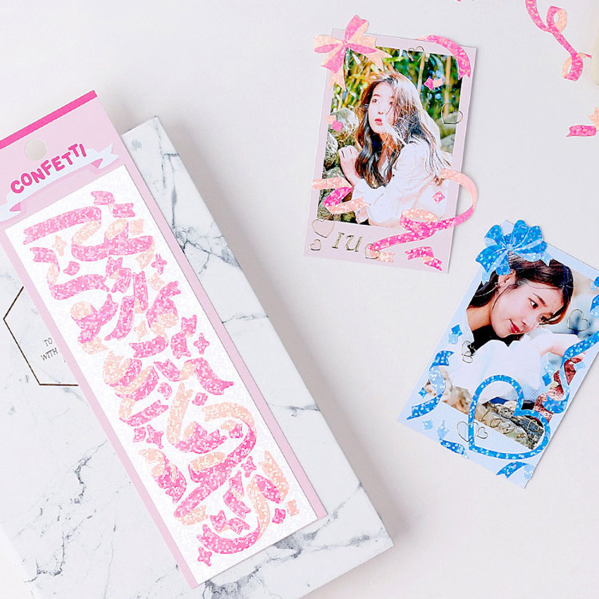 Usage example - Wanna This Confetti hologram pearl short sticker seal