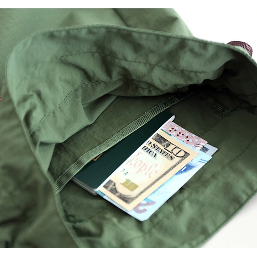 Inner pocket - ROMANE MonagustA nylon drawstring crossbody bag