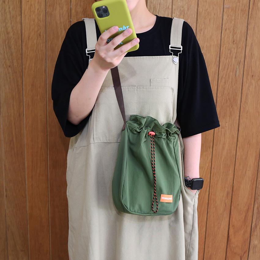 VERDE OLIVA - ROMANE MonagustA nylon drawstring crossbody bag