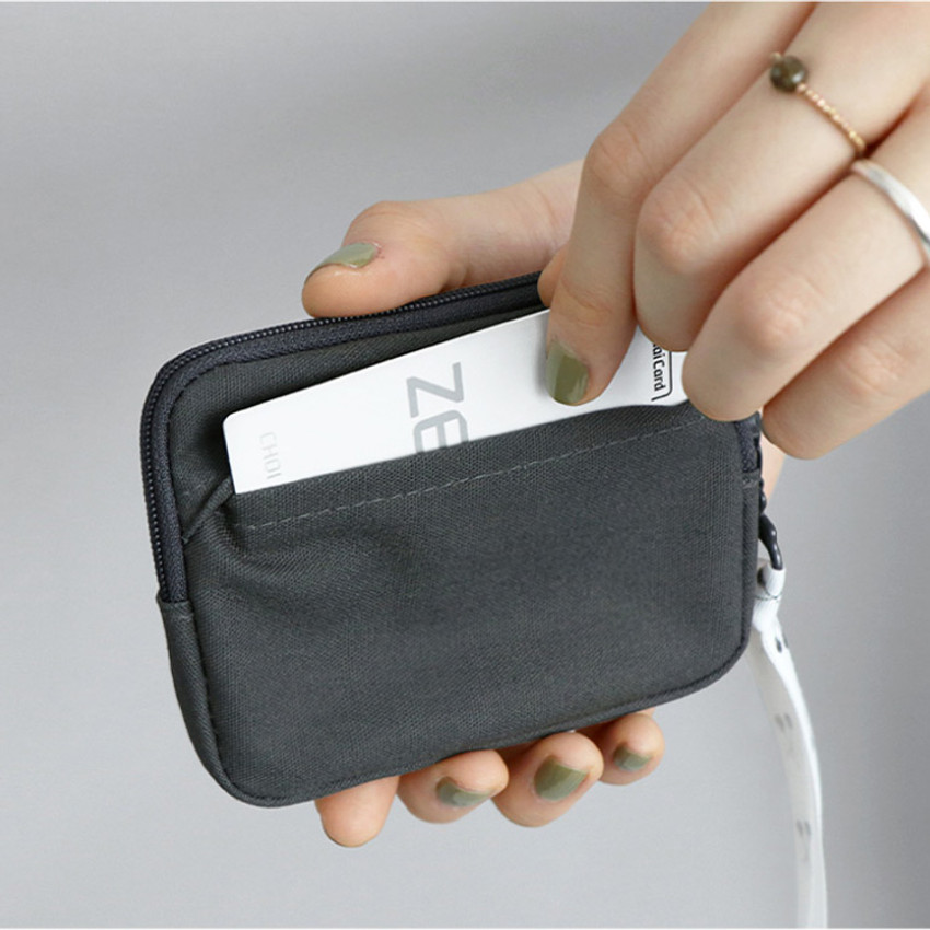 04 Charcoal - CONIC Cottony flat zipper card holder case