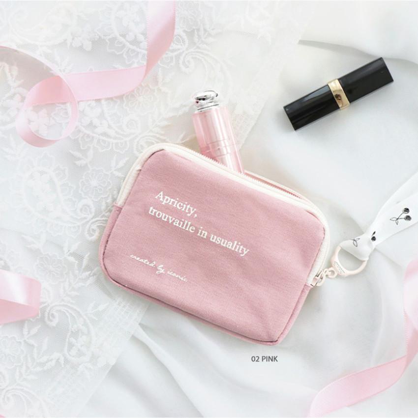 02 Pink - ICONIC Cottony flat zipper card holder case
