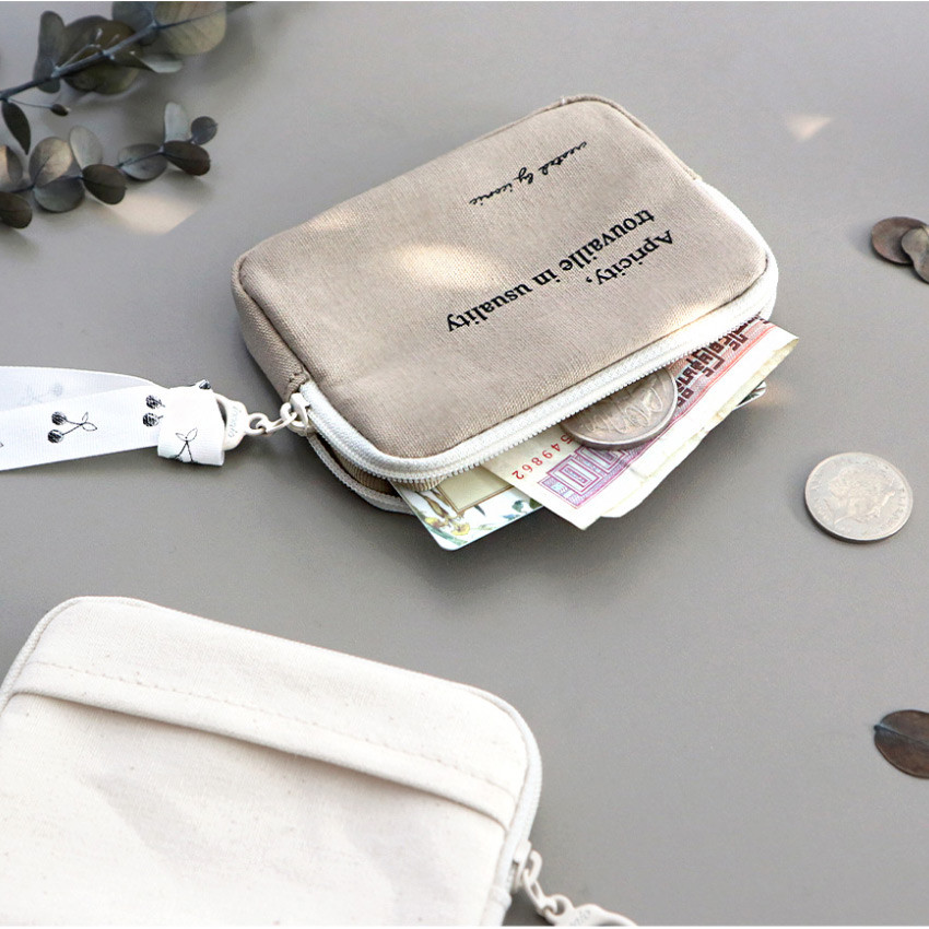 05 Biege - ICONIC Cottony flat zipper card holder case