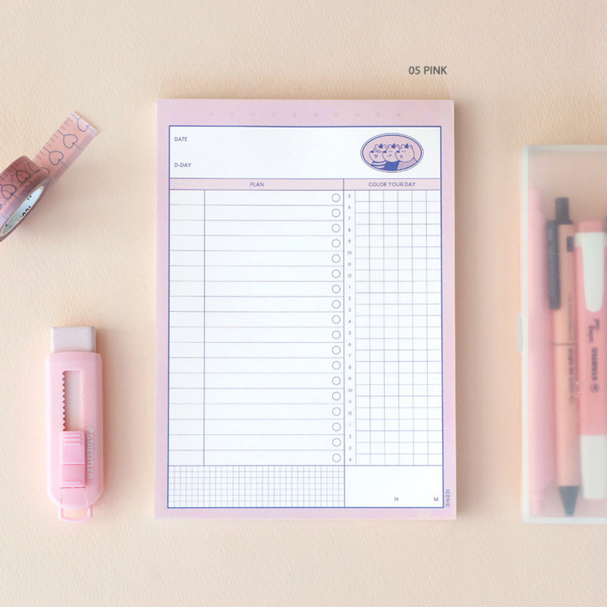 05 Pink - ICONIC Haru dateless daily study planner desk notepad