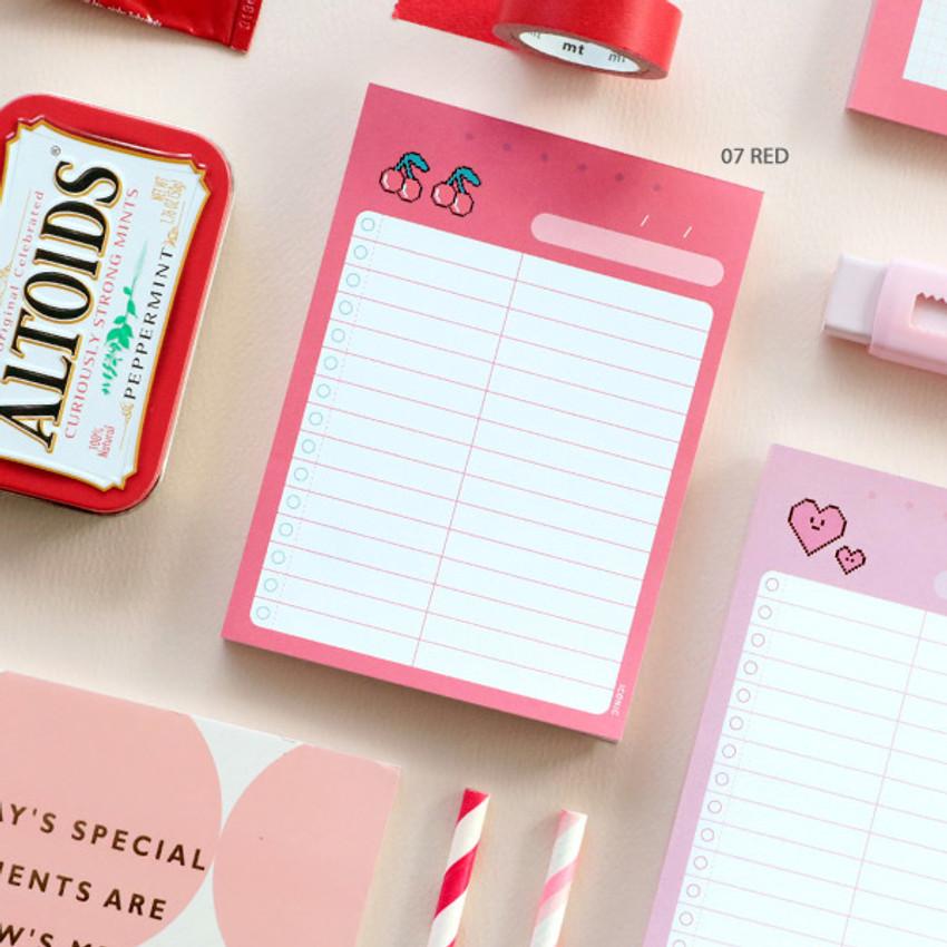07 Red - ICONIC Haru dateless daily vocabulary desk pad