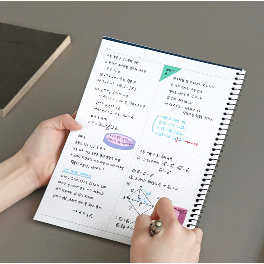 Usage example - ICONIC Basic mathematics spiral bound grid notebook