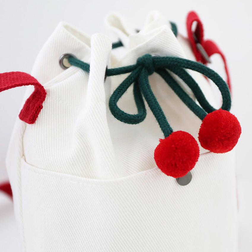 Cherry drawstring closure - ROMANE Cherry cotton crossbody bucket bag ver2
