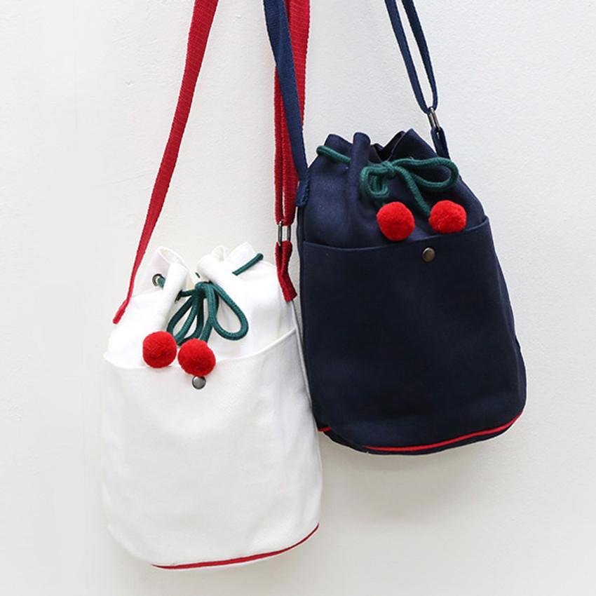 ROMANE Cherry cotton crossbody bucket bag ver2