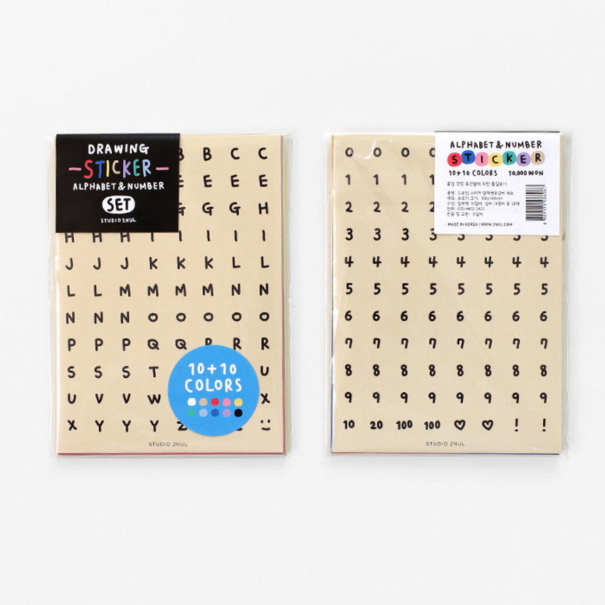 2NUL Drawing Alphabet and Number sticker set