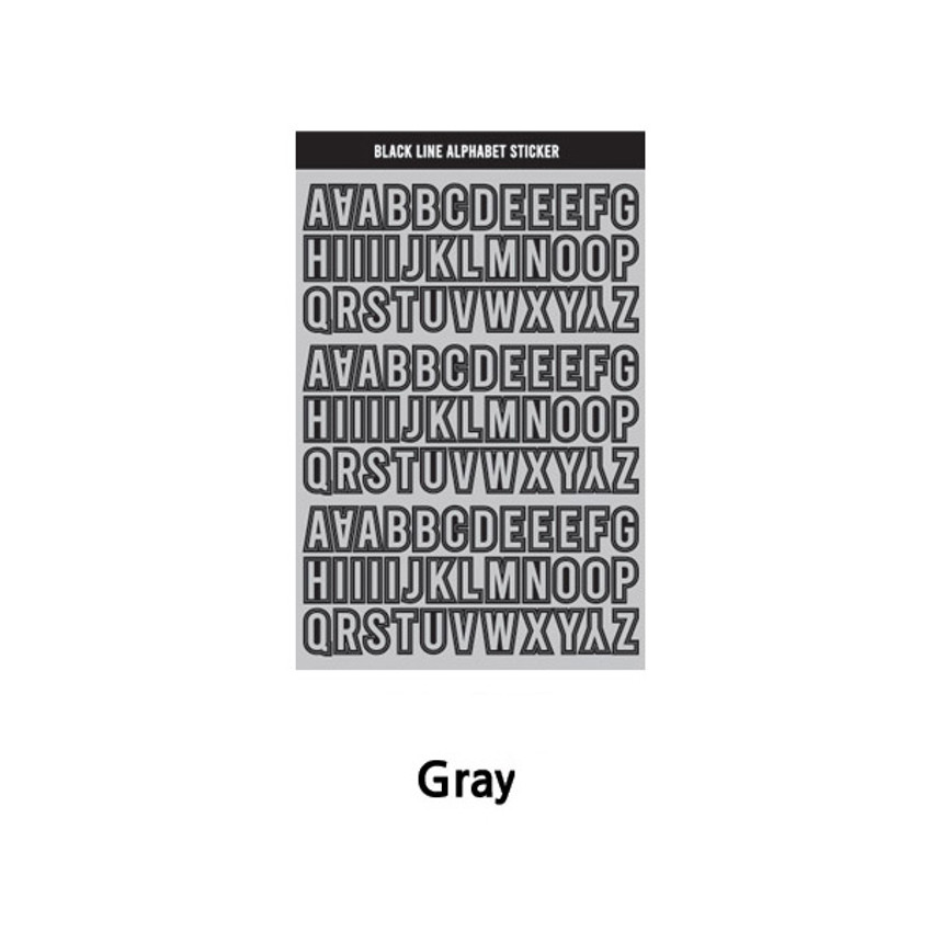 Gray - Wanna This Black line Upper case Alphabet sticker