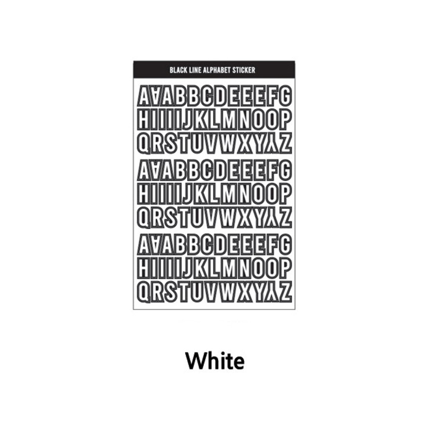 White - Wanna This Black line Upper case Alphabet sticker