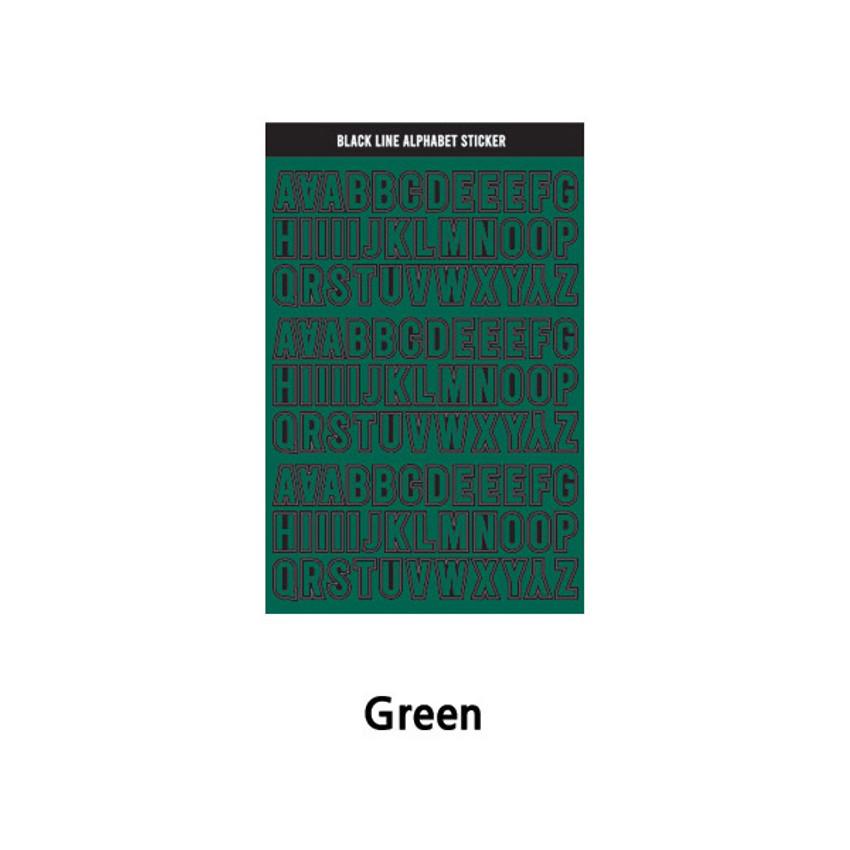 Green - Wanna This Black line Upper case Alphabet sticker