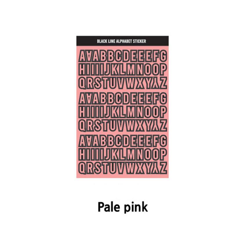 Pale Pink - Wanna This Black line Upper case Alphabet sticker