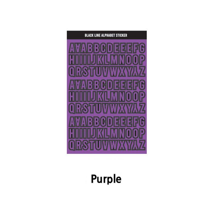 Purple - Wanna This Black line Upper case Alphabet sticker