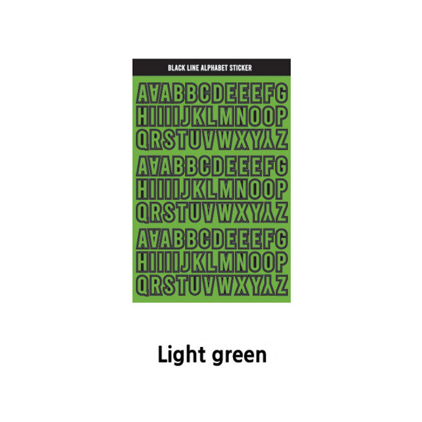Light Green - Wanna This Black line Upper case Alphabet sticker
