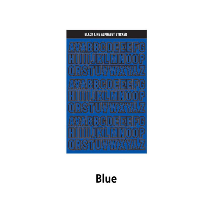 Blue - Wanna This Black line Upper case Alphabet sticker