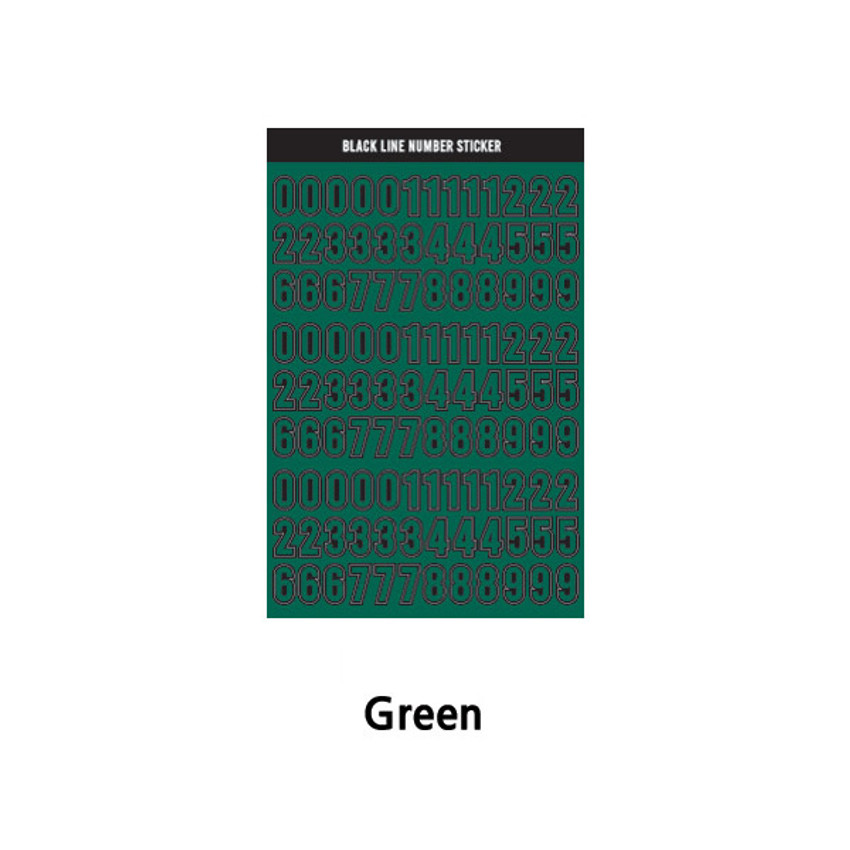 Green - Wanna This Blackline Number sticker