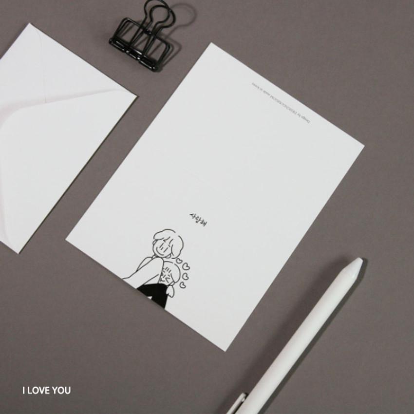 I Love You - DESIGN GOMGOM My You mini card and envelope set