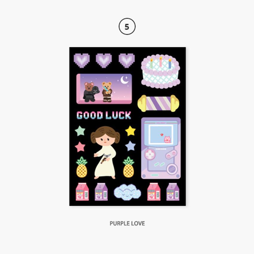 05 purple love - Project retro my juicy bear removable sticker