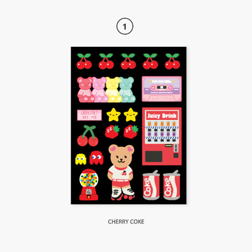 01 Cherry cock - Project retro my juicy bear removable sticker