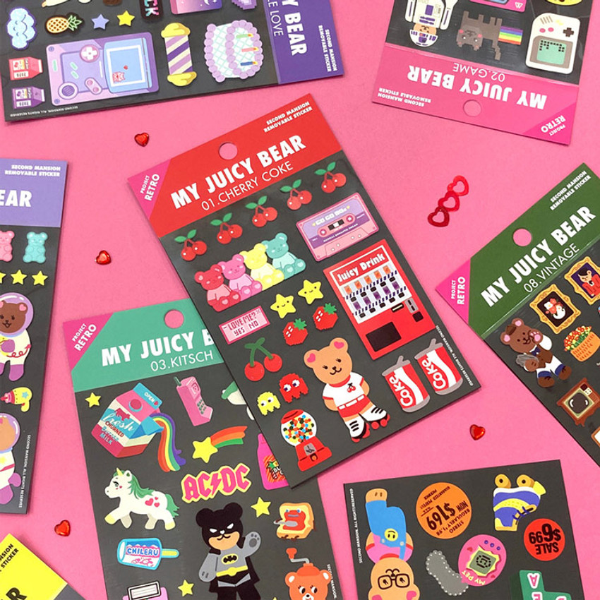 Project retro my juicy bear removable sticker
