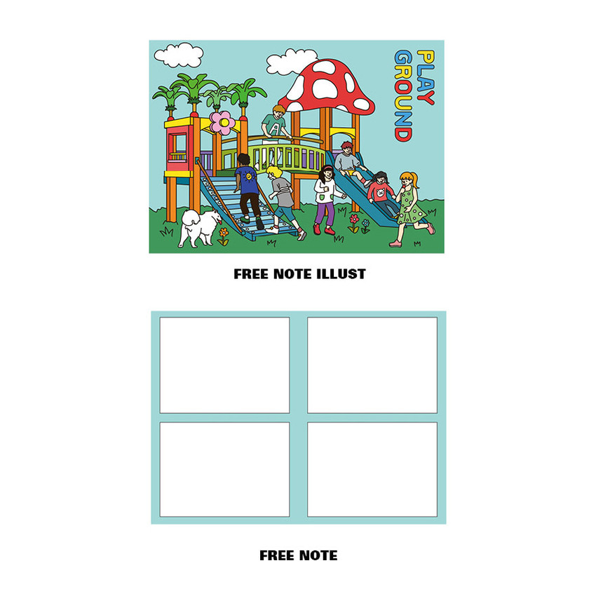 Free note illustration and 4 sections note - Ardium Colorpoint like dateless monthly planner scheduler