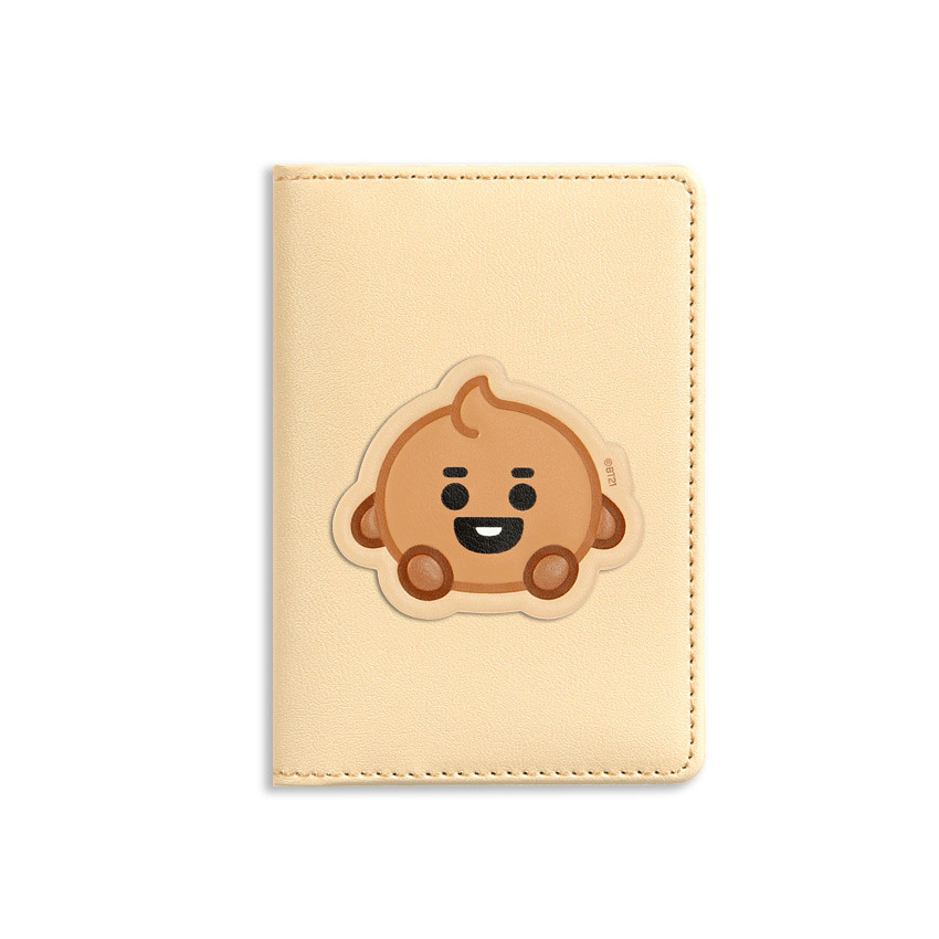 Front - BT21 Baby card case with leather sticker