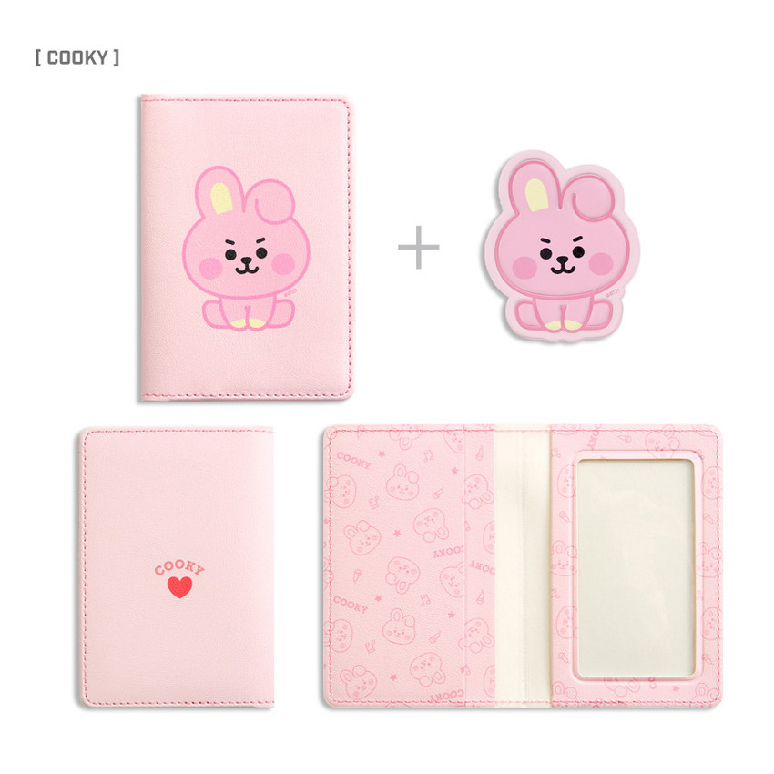 COOKY - BT21 Baby card case with leather sticker