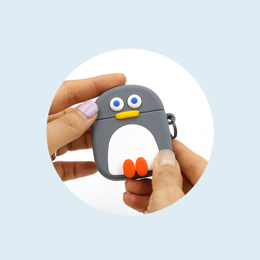 Detail of ROMANE Penguin AirPods silicone case cover