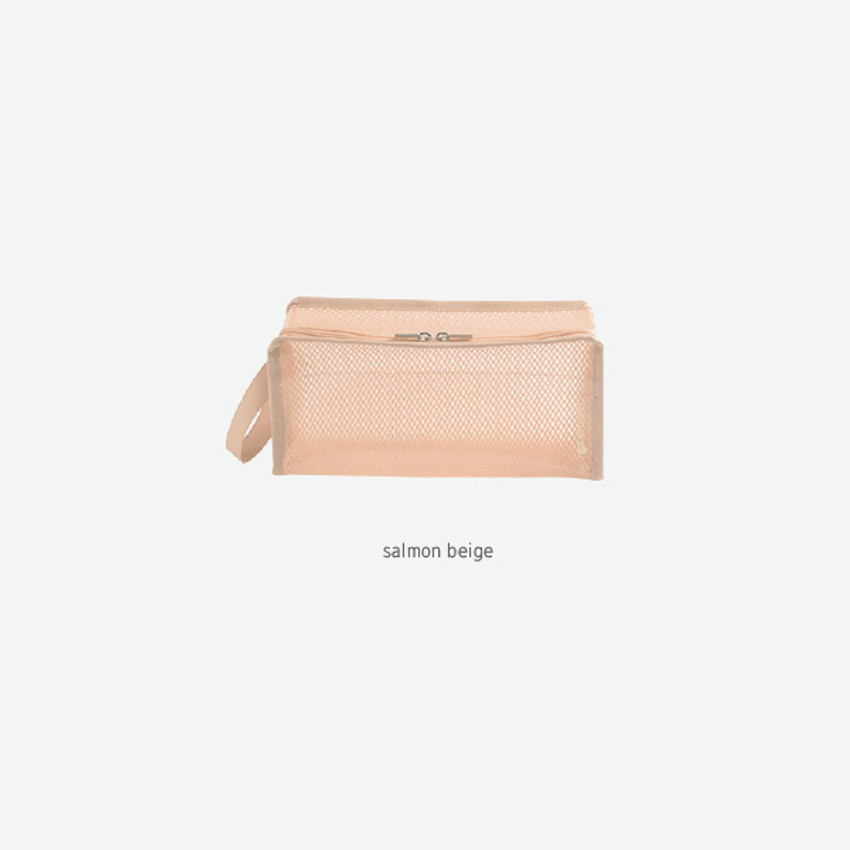 Salmon beige - Byfulldesign Travelus cube long coated mesh pouch
